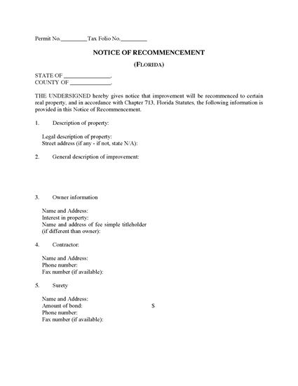 Picture of Florida Notice of Recommencement