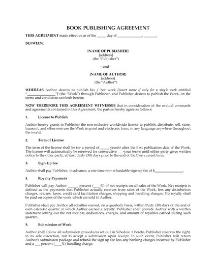 Picture of Book Publishing Agreement (non-exclusive)