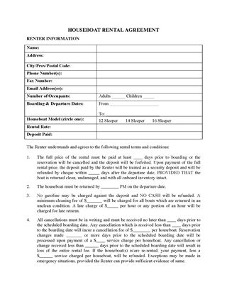 Picture of Canada Houseboat Rental Agreement