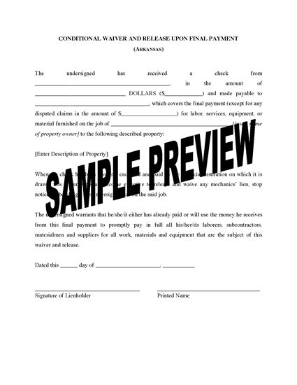 Picture of Arkansas Lien Waiver and Release Forms