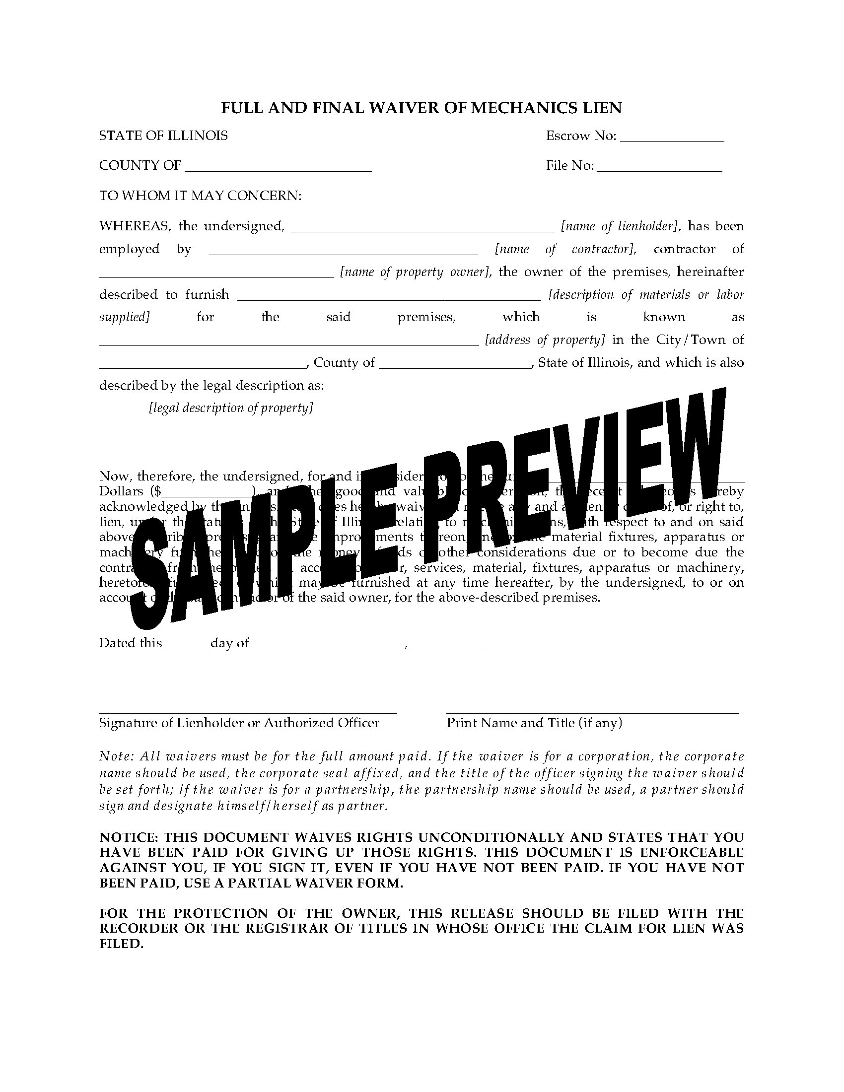 Illinois Lien Waiver Forms Package Legal Forms And Business