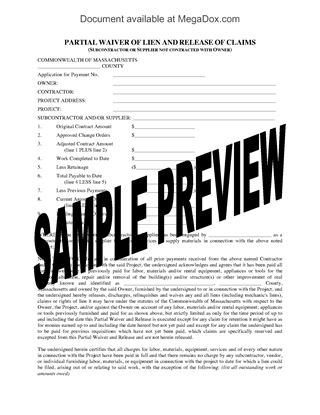 Picture of Massachusetts Lien Waiver and Release Forms Package