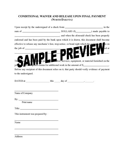 Picture of North Dakota Lien Waiver and Release Forms Package