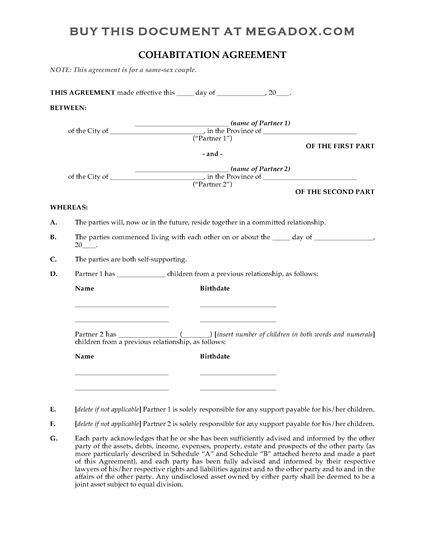 Picture of Cohabitation Agreement for Same Sex Couple | Canada