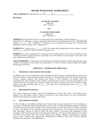 Picture of Share Purchase Agreement | UK