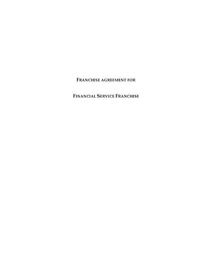 Picture of Canada Franchise Agreement for Financial Services