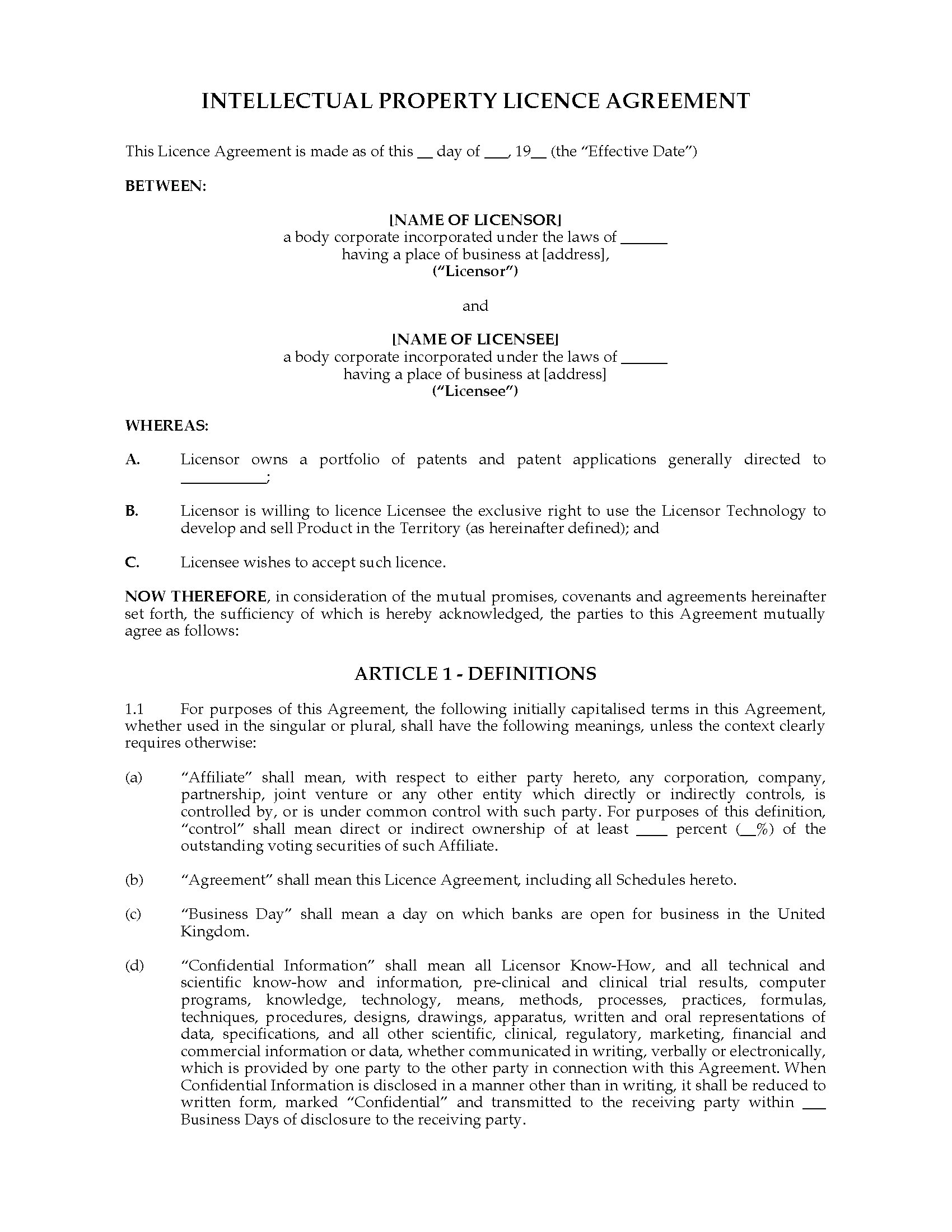 Uk intellectual property licence agreement legal forms for Intellectual property licence agreement template