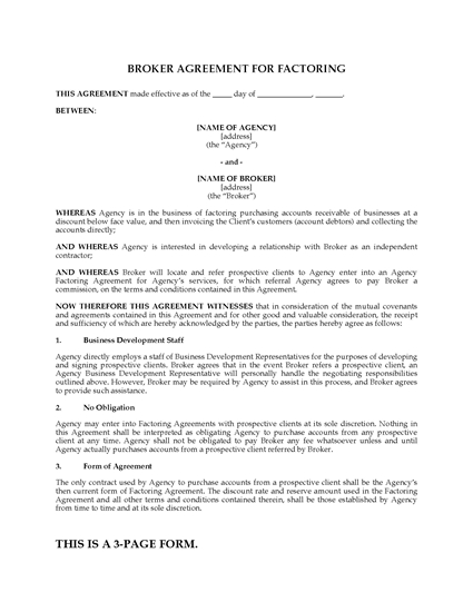 Picture of Broker Agreement for Factoring | USA