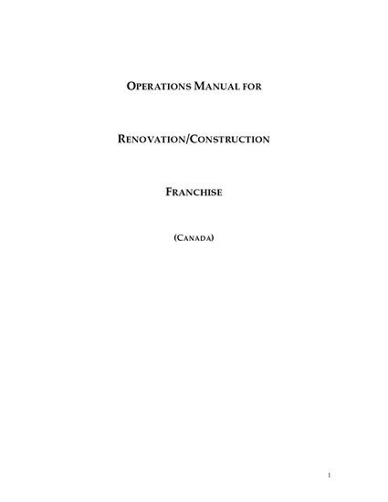 Picture of Canada Operations Manual for Renovation or Construction Franchise