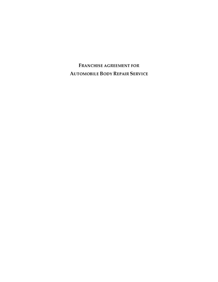 Picture of Franchise Agreement for Autobody Repair Service | Canada