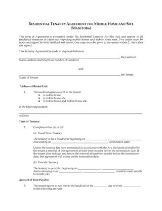 Picture of Manitoba Mobile Home Tenancy Agreement