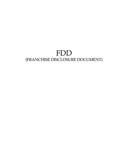 Picture of USA Franchise Disclosure Document for Regional Franchisors