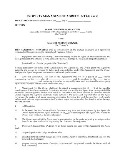 Picture of Alaska Rental Property Management Agreement
