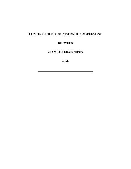 Picture of USA Franchise Construction Administration Agreement