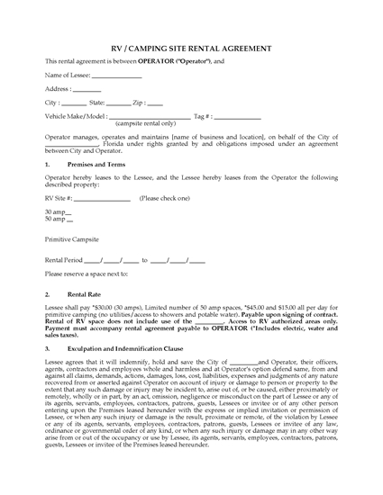 Picture of Florida RV and Camping Site Rental Agreement
