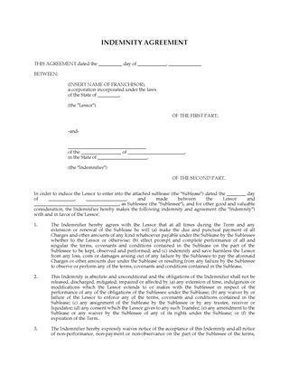 Picture of USA Franchisee Indemnity Agreement for Sublease