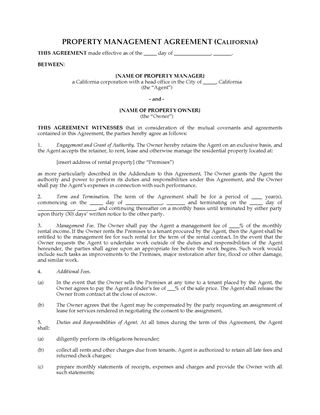 Picture of California Rental Property Management Agreement