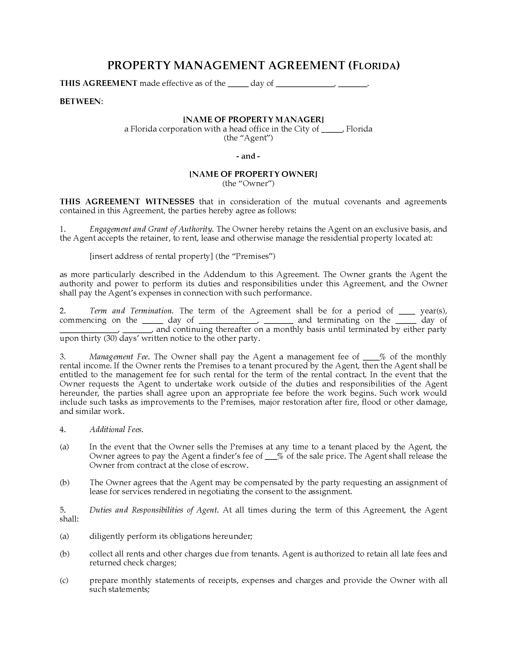 Picture Of Florida Rental Property Management Agreement