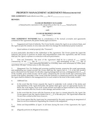 Picture of Massachusetts Rental Property Management Agreement