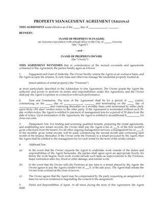 Picture of Arizona Rental Property Management Agreement