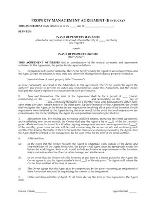 Picture of Kentucky Rental Property Management Agreement