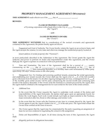 Picture of Wyoming Rental Property Management Agreement