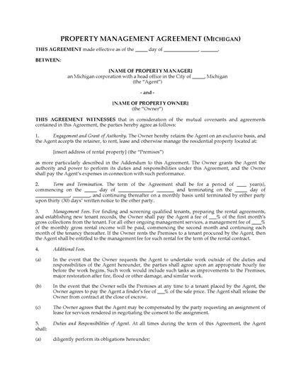 Picture of Michigan Rental Property Management Agreement
