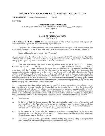 Picture of Washington Rental Property Management Agreement