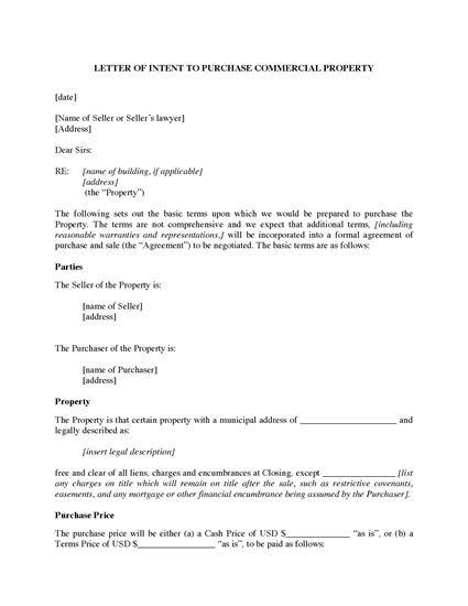 Picture of USA Letter of Intent to Purchase Commercial Real Estate Property