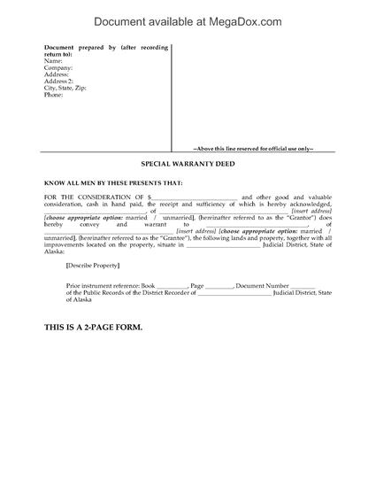 Picture of Alaska Special Warranty Deed