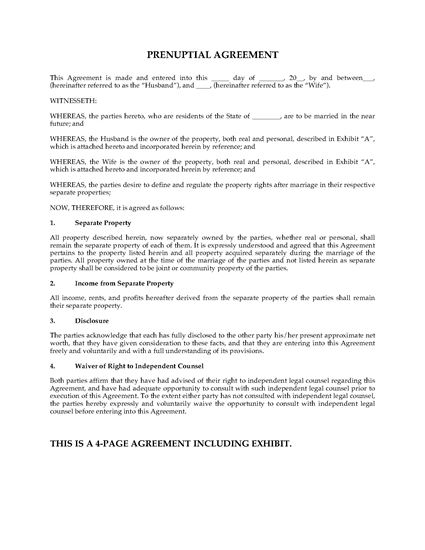 Usa prenuptial agreement short form legal forms and for Free prenuptial agreement template canada