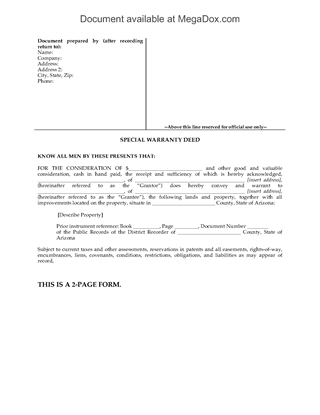 Picture of Arizona Special Warranty Deed