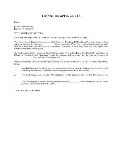 Picture of Tenant Estoppel Letter for Commercial Condominium