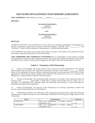 Picture of Software Development Partnership Agreement | USA