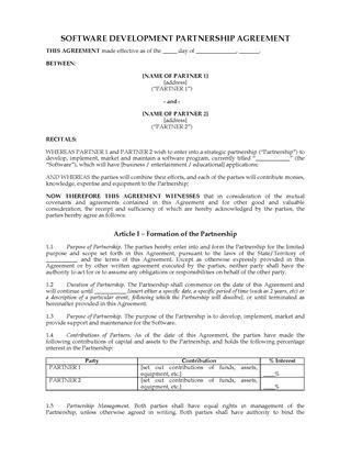 Picture of Software Development Partnership Agreement | Australia