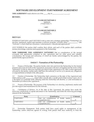 Picture of Software Development Partnership Agreement | UK