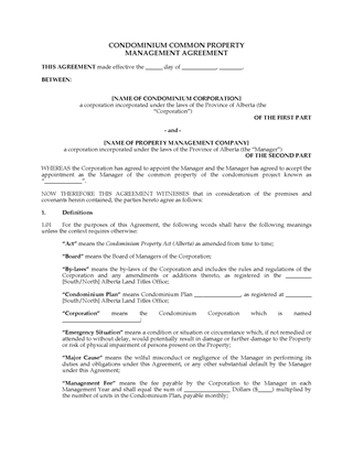 Picture of Alberta Condo Common Property Management Agreement