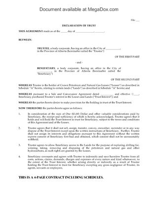 Picture of Alberta Declaration of Trust for Crown Leases