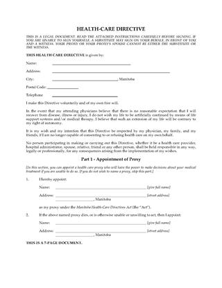 Picture of Manitoba Health Care Directive