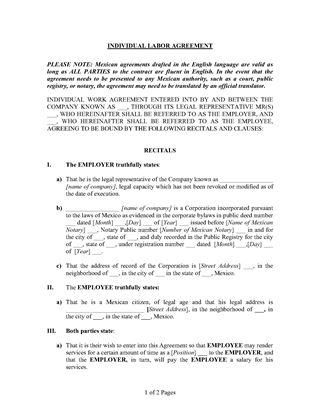 Picture of Individual Labor Agreement (Mexico)