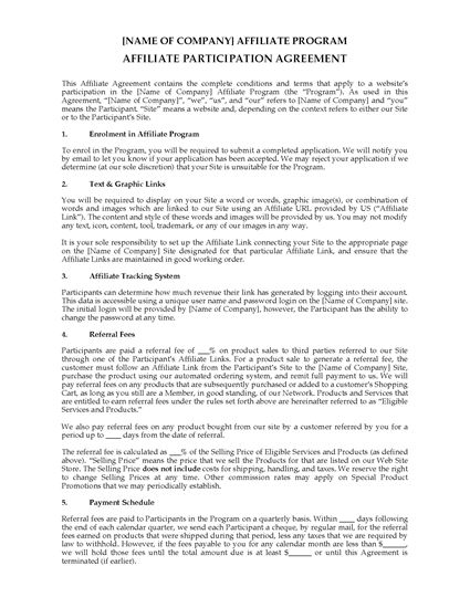 India Website Affiliate Participation Agreement Legal Forms And