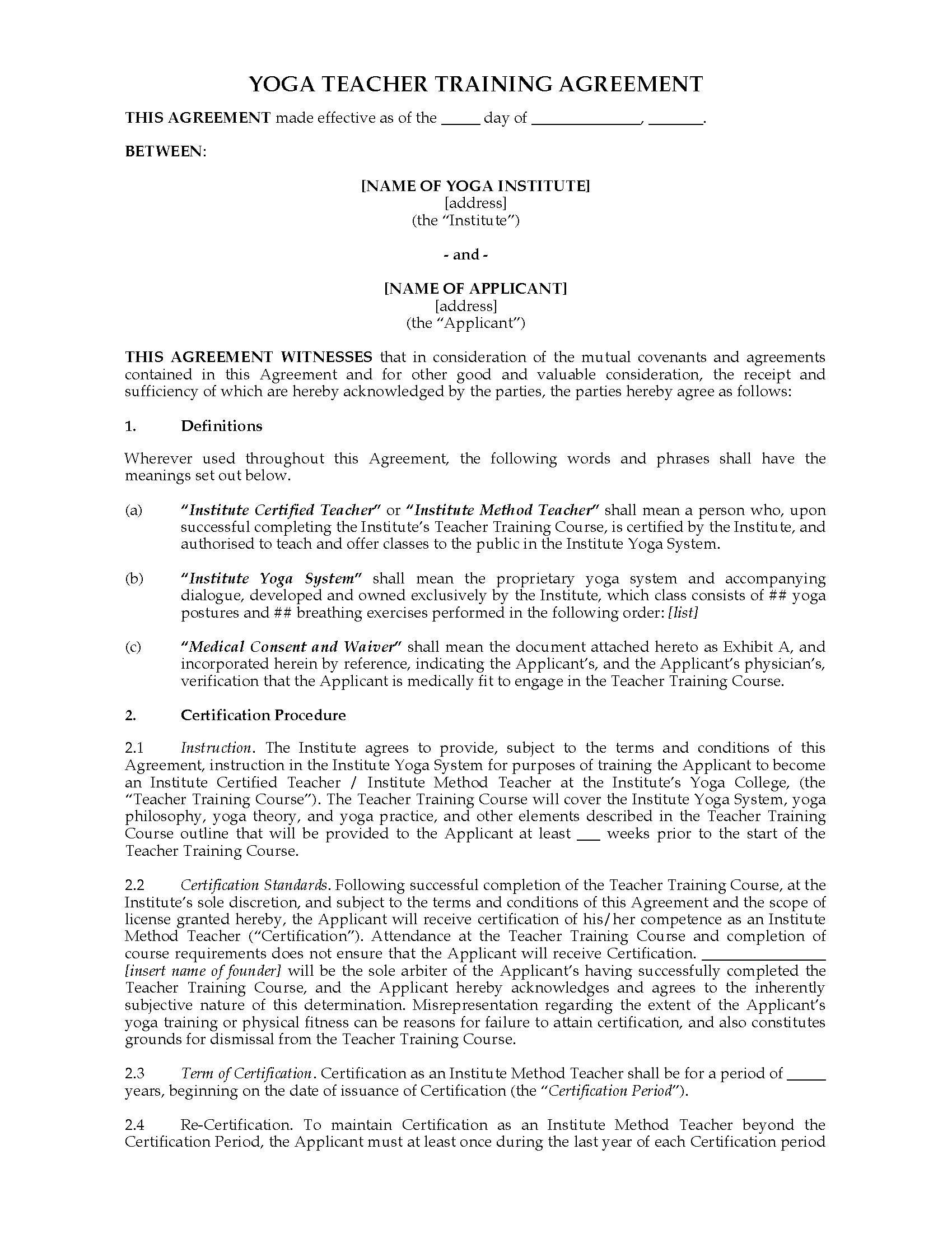 India yoga instructor training agreement legal forms and for Exercise contract template