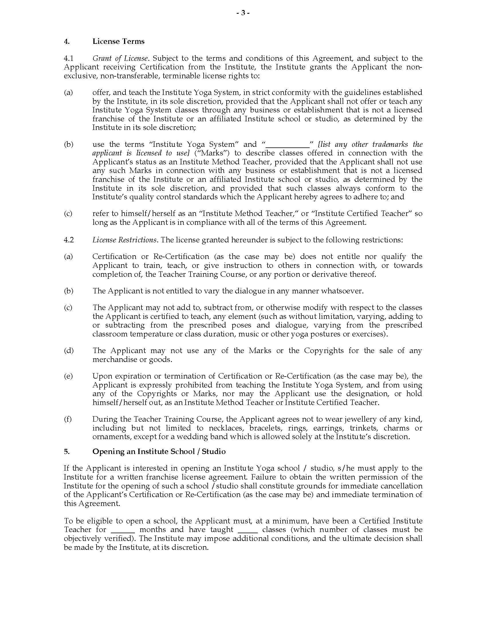 India Yoga Instructor Training Agreement Legal Forms And Business