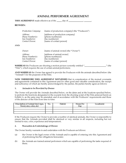 Picture of Animal Performer Agreement for Film and TV