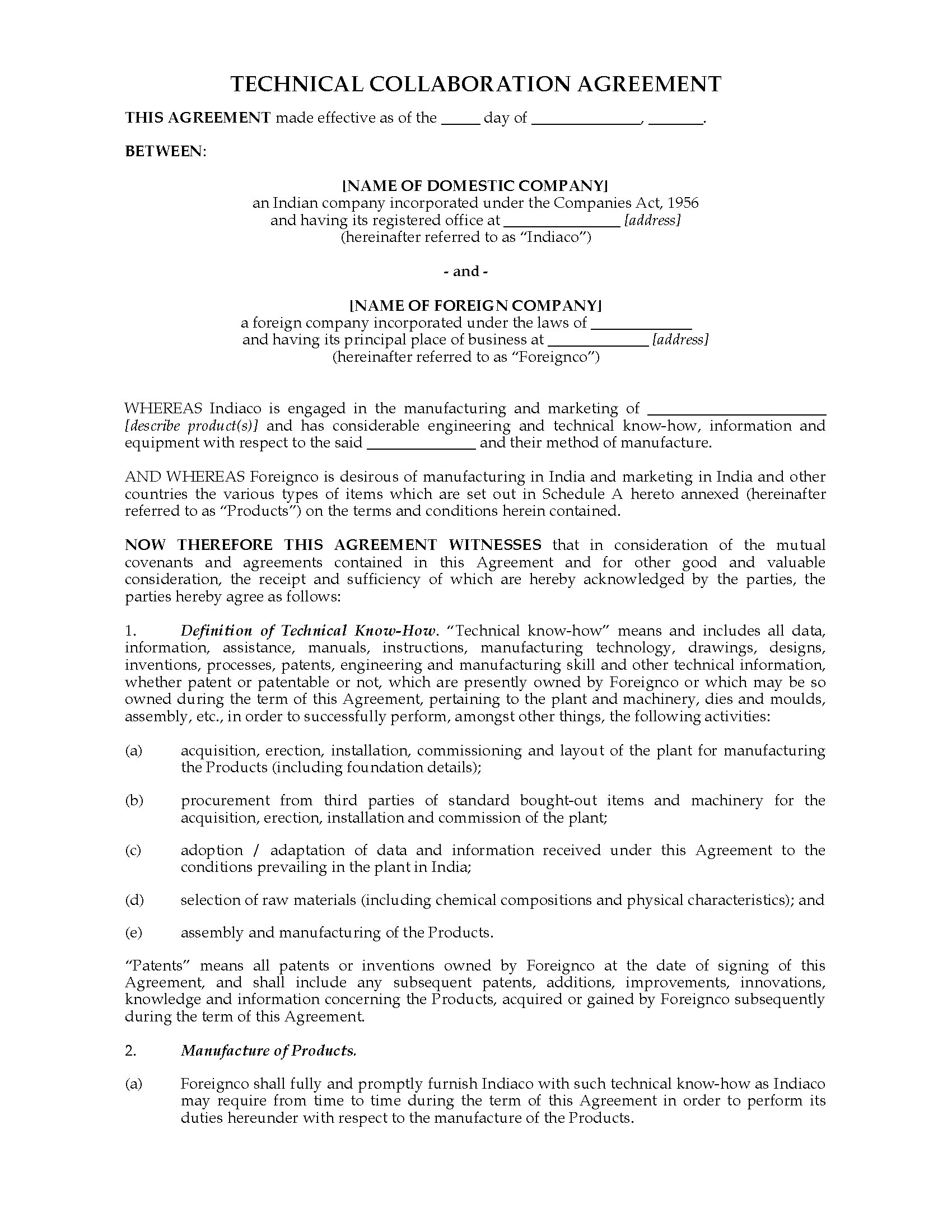 India technical collaboration agreement legal forms and for Collaboration contract template