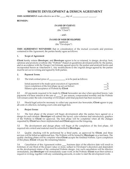 Picture of India Website Development and Design Agreement