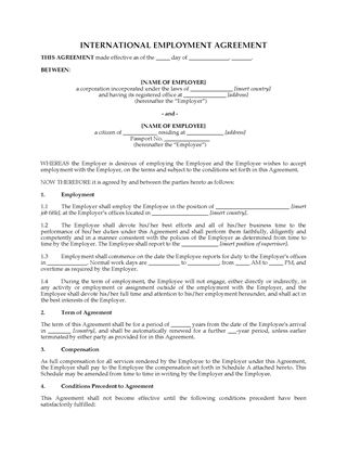 Picture of International Employment Agreement
