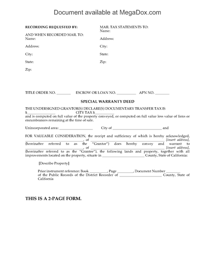 Picture of California Special Warranty Deed