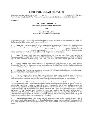 Picture of Ontario Short Form Residential Lease Agreement