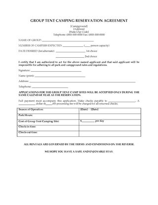 Picture of USA Group Tent Camping Agreement
